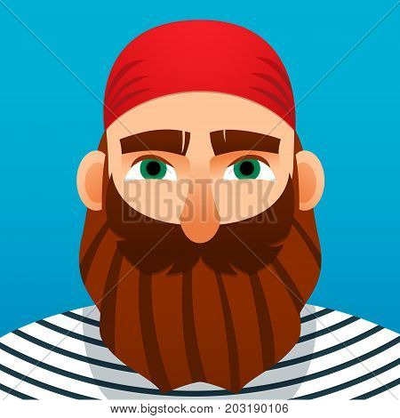 Portrait of a sailor. Cartoon style. Vector illustration