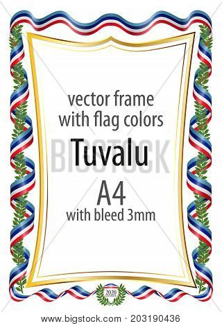 Frame and border of ribbon with the colors of the Tuvalu flag