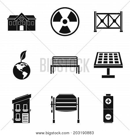 Alternative energy icons set. Simple set of 9 alternative energy icons for web isolated on white background