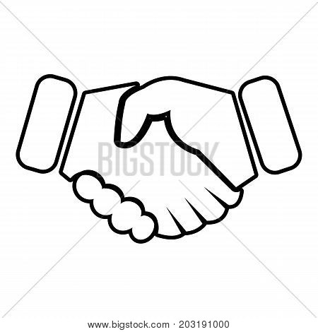 Handshake ice hockey icon. Outline illustration of handshake ice hockey vector icon for web design isolated on white background