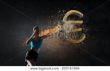 Euro currecy fall. Mixed media