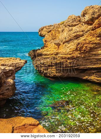 The grottoes of Rosh Ha Nikra on the Mediterranean coast. Geological phenomenon in the north of Israel, on the border with Lebanon. Rocks of limestone form caves, arches and grottoes