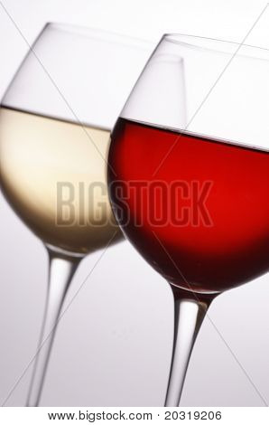 red and white wine, front glass in focus