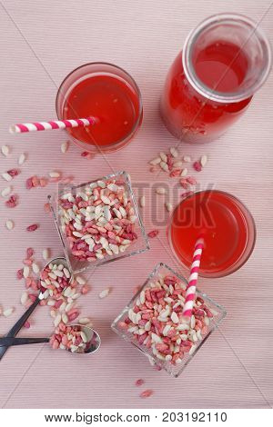 Sweet puffed rice and fruit drink. Top view