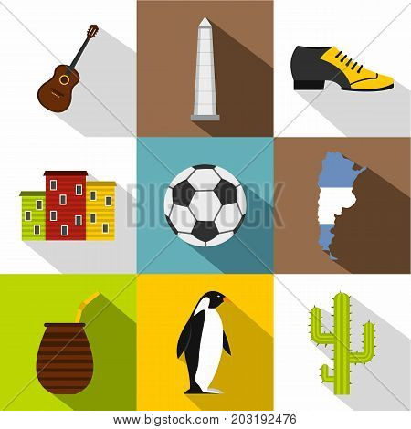 Typical Argentina icon set. Flat style set of 9 typical Argentina vector icons for web design
