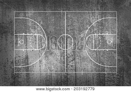 Basketball Court Floor With Line On Black Grunge Background