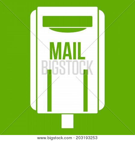 Post box icon white isolated on green background. Vector illustration