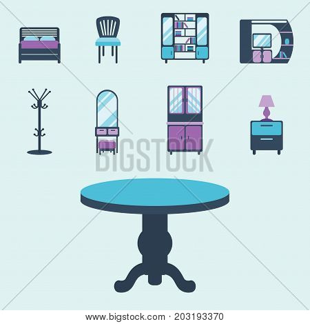 Furniture icons home design modern living room chair house sofa comfortable apartment couch vector illustration. Contemporary luxury flat elegancee retro bedroom interior.