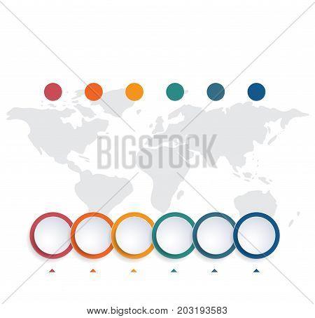 Template infographic color bubbles chart 6 positions