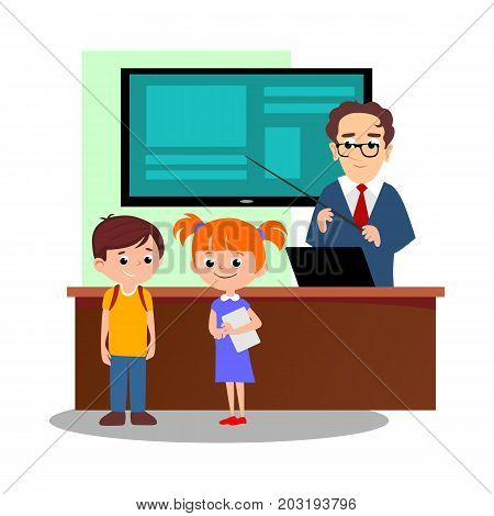 Lesson in classroom at school or college, teacher explains lesson near desk in front of students, Children stand and listen teacher, education concept vector illustration, campus life.