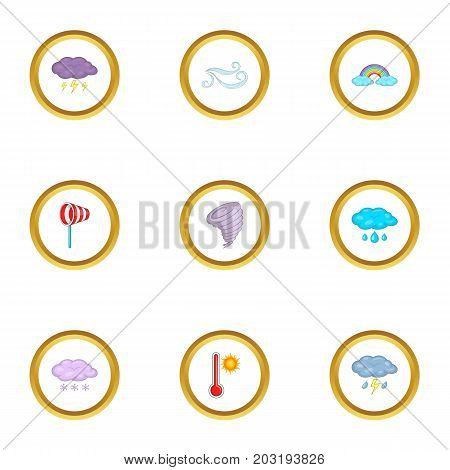 Meteorology icons set. Cartoon set of 9 meteorology vector icons for web isolated on white background