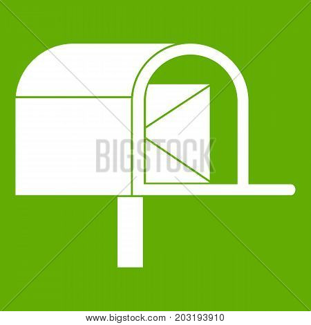 Mailbox icon white isolated on green background. Vector illustration