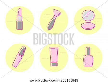 Cosmetics icons. Vector flat line beauty icons. set of lipstick, makeup brush, powder makeup, mascara, cream, nail polish thin line object. Makeup tools modern vector illustration.