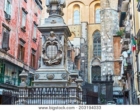 San Gennaro Obelisk In Piazza Cardinale Sisto Riario Sforza. Naples, Italy.