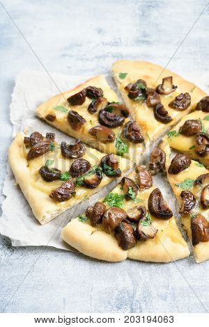 Sliced pizza with mushrooms and cheese on light background