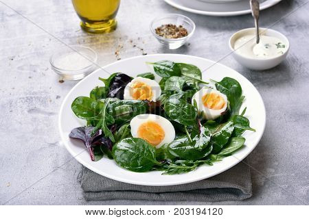 Healthy salad with green leaves and eggs
