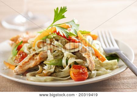 noodles and chicken or turkey stirfry