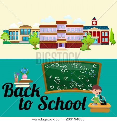 Back to school concept, Lesson in classroom at college, teacher explains lesson near desk in front of students, Childrens listen teacher and school building, education concept vector illustration, campus life.