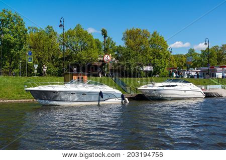 St. Petersburg, Russia - June 04.2017. pleasure boats in the Strait Kronverksky