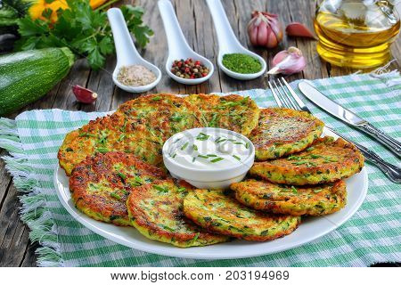 Delicious Zucchini Fritters On Plate, Close-up