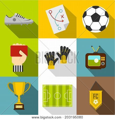 Football tournament icon set. Flat style set of 9 football tournament vector icons for web design