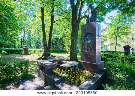 SAINT PETERSBURG, RUSSIA - JUNE, 2015: NECROPOLIS OF ALEXANDER NEVSKY LAVRA. MONUMENT TO RUSSIAN SCIENTIST SERGEY LEBEDEV