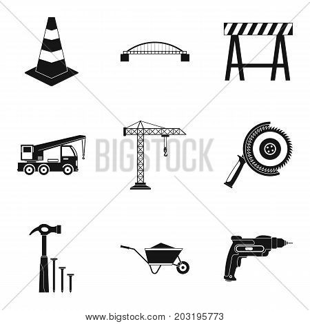 Professional builder icons set. Simple set of 9 professional builder vector icons for web isolated on white background