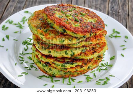 Zucchini Fritters On Plate, Top View