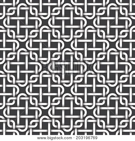 Abstract repeatable pattern background of white twisted strips bands with black strokes. Swatch of intertwined bands in squares and crosses form. Seamless pattern in vintage style.