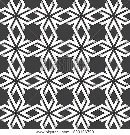 Abstract repeatable pattern background of white twisted bands with black strokes. Swatch of shapes plexus in crosses form. Seamless pattern in vintage style.