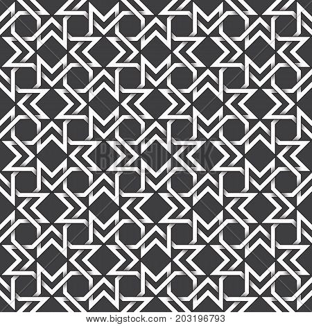 Abstract repeatable pattern background of white twisted bands with black strokes. Swatch of shapes plexus in polygons form. Seamless pattern in vintage style.