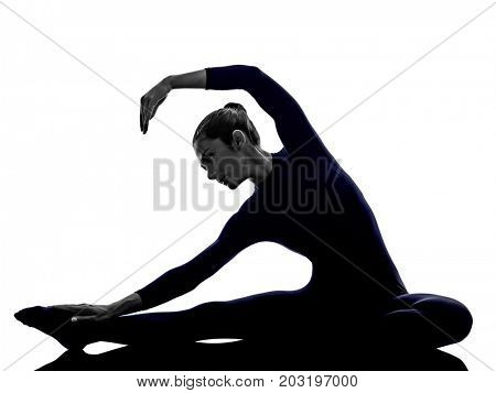 woman exercising Parivritta Janu Sirsasana Revolved Head of the Knee pose yoga silhouette shadow white background