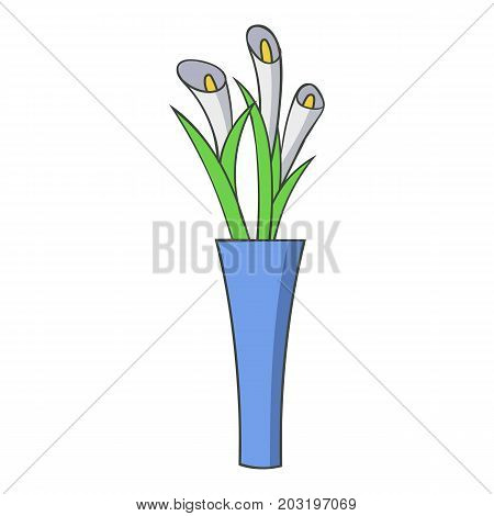 Vase flowers icon. Cartoon illustration of vase flowers vector icon for web