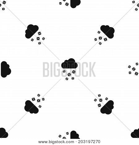Cloud and hail pattern repeat seamless in black color for any design. Vector geometric illustration