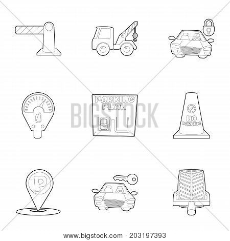 Parking lot icons set. Outline set of 9 parking lot vector icons for web isolated on white background