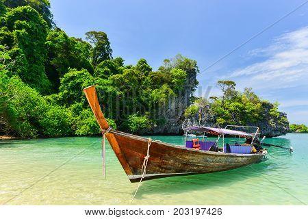 Krabi, Thailand - April 30, 2014 : Long Tail Boat At Koh Pak Bia Island In Krabi Province, Thailand.
