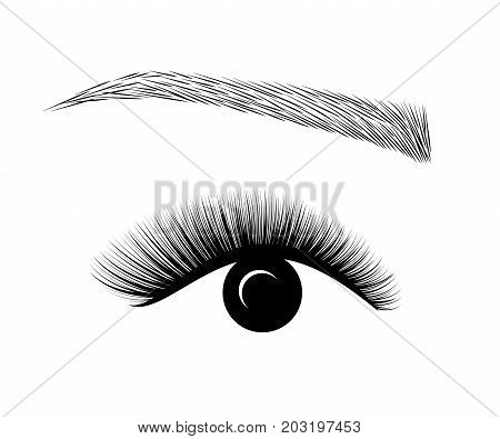 Logo Eyelash extension. A beautiful make-up. Mascara for volume and length. logotype eye