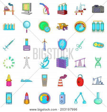 Technical icons set. Cartoon style of 36 technical vector icons for web isolated on white background