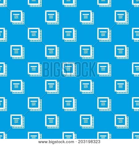 Computer CPU processor chip pattern repeat seamless in blue color for any design. Vector geometric illustration