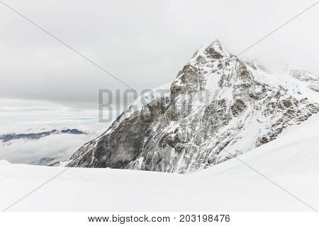 Jungfraujoch Or Jungfrau Top Of Europe, Swiss Alps Range Scenic Near Interlaken, Switzerland