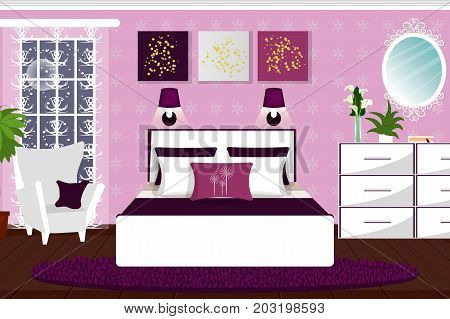 The interior of the bedroom. Room with white furniture and plants. Cartoon. Vector.