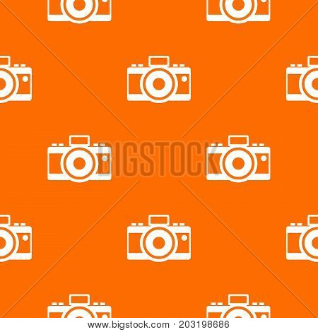 Photocamera pattern repeat seamless in orange color for any design. Vector geometric illustration