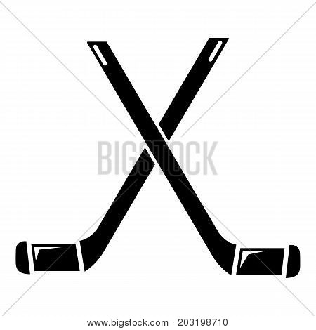 Two crossed hockey sticks icon . Simple illustration of two crossed hockey sticks vector icon for web design isolated on white background