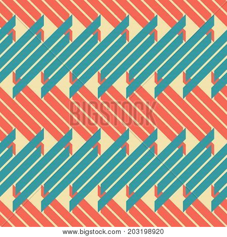 Abstract seamless geometric pattern of blue and red thick diagonal segments, retro color palette