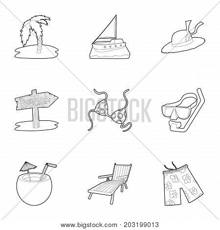 Beach resort icons set. Outline set of 9 beach resort vector icons for web isolated on white background