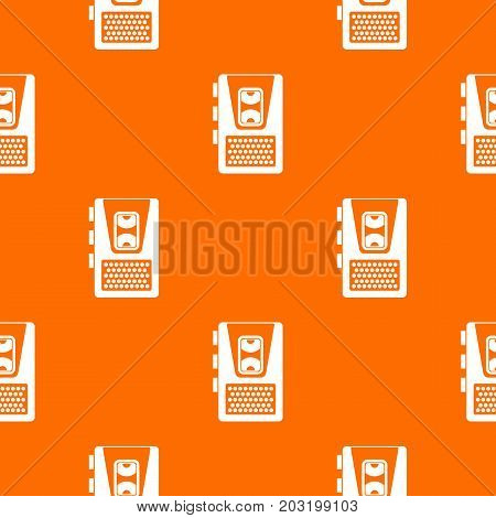 Dictaphone pattern repeat seamless in orange color for any design. Vector geometric illustration