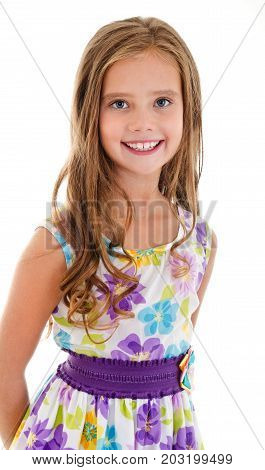 Adorable smiling little girl child in princess dress isolated on a white