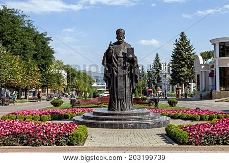 KISLOVODSK, RUSSIA - SEPTEMBER 06, 2017:A monument to St. Nicholas the Wonderworker on Kurortnoy Boulevard,since 2016.A three-meter sculptural image adorns the resort town Kislovodsk.