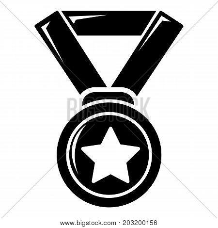 Hockey champion medal icon . Simple illustration of hockey champion medal vector icon for web design isolated on white background