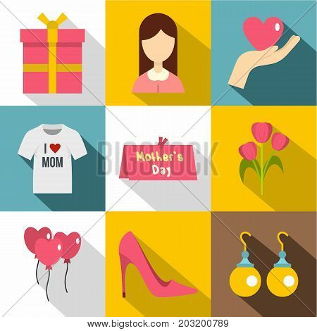 Happy mama day icon set. Flat style set of 9 happy mama day vector icons for web design